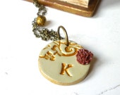 Custom Letter Necklace - Shabby Chic - Romantic - Antique-Vintage- Gold and champagne