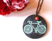 Bicycle Necklace - Bike Necklace - I Heart Bike - Bicycle Necklace - Vintage Bike