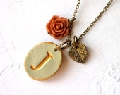 Vintage Letter Necklace - Rustic Chic  - English Garden - Eco Chic