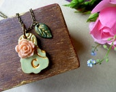 Letter Necklace - Victorian Garden - Soft sage green and Gold with Nude Pink Rose