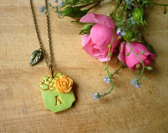 Initial Necklace - Victorian Garden - Moss green and Gold with Apricot Rose