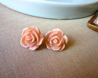 Rose Post Earrings - Nude Pink Earrings