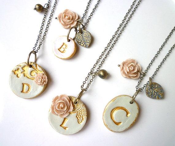 FOR JILL - Bridesmaid necklace - Vintage Garden Chic set of 7