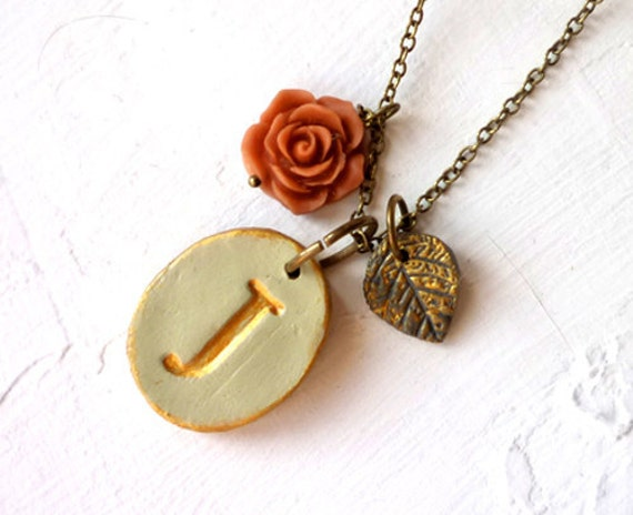 Vintage Letter Necklace, Rustic Chic, Victorian English Garden, Bridesmaid gifts, Jane Austen inspired