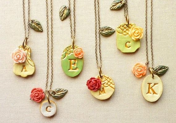 Victorian Garden Bridesmaid Necklaces - Rustic Chic Wedding -  Set of 6