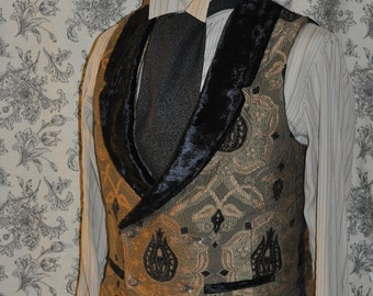 Mens Bespoke Low Cut Vest--Dandy-- Victorian--Steampunk---Sherlock Holmes Style--Custom Hand Tailored--Made to Order--Made to Measure-Dapper