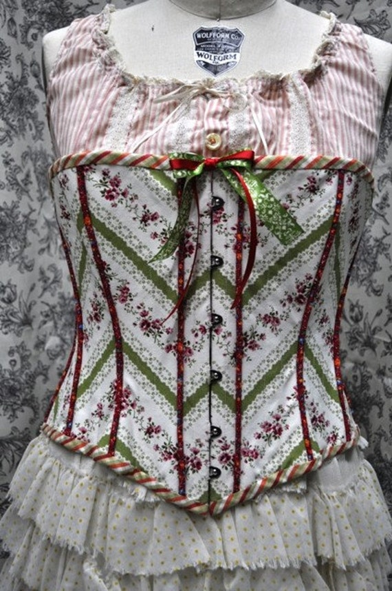 Ready To Ship--Late 1800s Style/ Hand Made/ Victorian Corset- Plus Size---Busk Front Closure---Lace Up Back---Steel Bones--Fully Lined