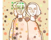 Fine Art print Giclee Best Friends  twin Sisters sepia vintage look  beige cream dots spots mother daughter