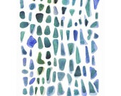 Painting,My Sea Finds, Watercolor, Original Artwork, green, blue, turquoise, pattern, beach, fttt