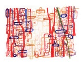 "Original painting red original watercolor Labyrinth of love  red lines  8 x 11"" connections"