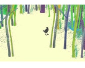 Bird in the woods Limited Edition   Fine Art Print Green trees Bird Blackbird Rustic Teamb Dreamt fttt