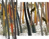 Nature trees Art Bird in the woods Limited edition giclee Rustic outdoors woodland forest blackbirds orange brown summer autumn fall Harvest