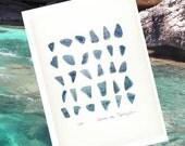 Abstract Art Painting Watercolor - Beach Sea Glass - original Art - sapphire blue turquoise ultramarine teal oht - original home decor