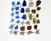 Original painting, Connecting the dots, watercolour blue, brown, pebbles teamcamelot oht