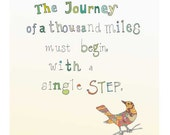 Quote The Journey giclee print  inspirational wall art  motivational art beige white bird zen