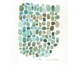 "Original Art Painting Watercolor - Abstract modern art - Turquoise teal blue green 7 x 7"" oht elitett"
