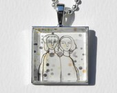Reserved for Jet - Pendant Wearable Art mother and daughter necklace  sisters