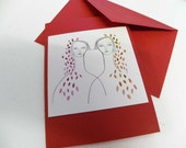 Notecard Red Write your Sister - Valentine's day Card Birthday Anniversary girl bestfriend twin - dreamt oht