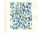 Sea Glass imaginary finds from the beach original watercolor blue green jade peridot teal turquoise purple (oht europeanstreetteam)