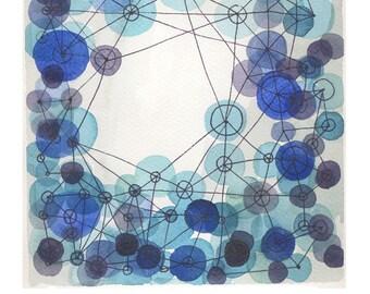 watercolor indigo blue constellation - giclee print - watercolor print blue circles