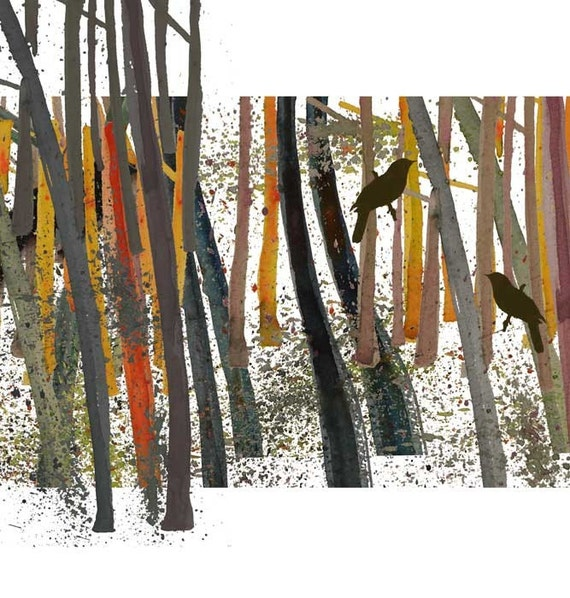 Woodland Bird in the woods - Limited edition giclee - golden mustard moss orange brown black - dreamt  teamspirit affordable art