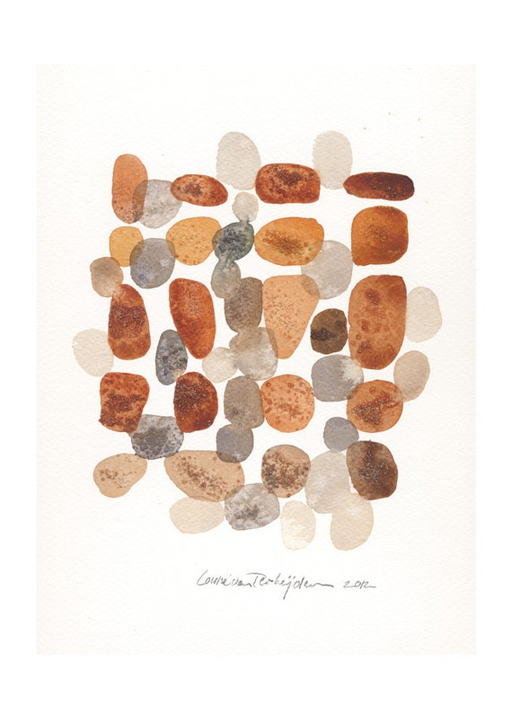Original painting - Rocks I - original Art Watercolor pebbles stones, beach finds fall abstract art sepia brown