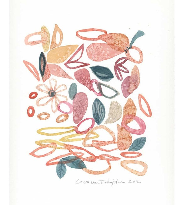 Original Painting pink watercolor Composition IV Spring Original art peach salmon pastel oht
