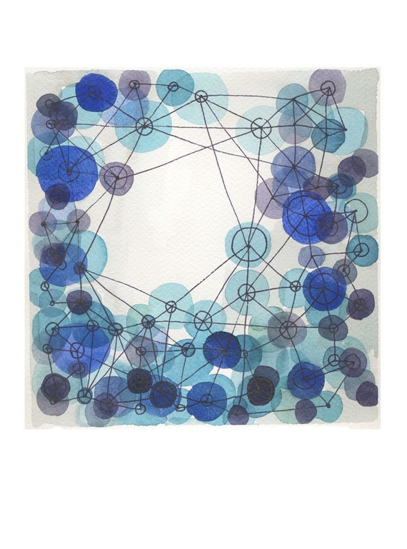 watercolor indigo blue constellation - giclee print - watercolor print blue circles