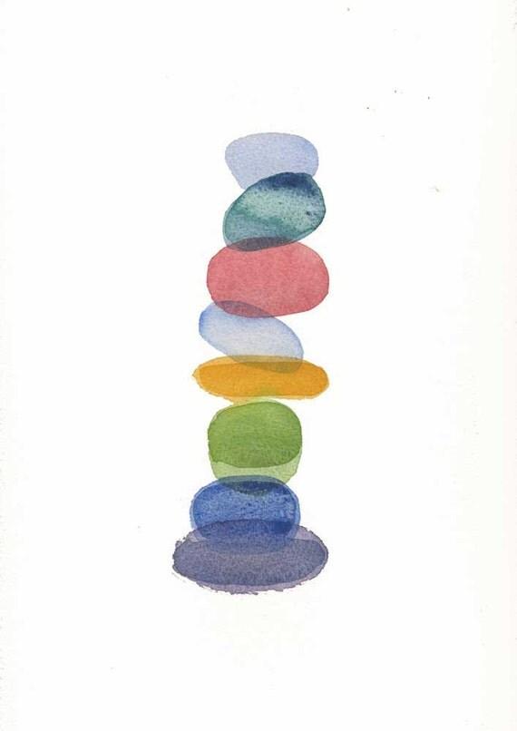 Original painting watercolor color blocks nursery room fun home wall decor abstract art