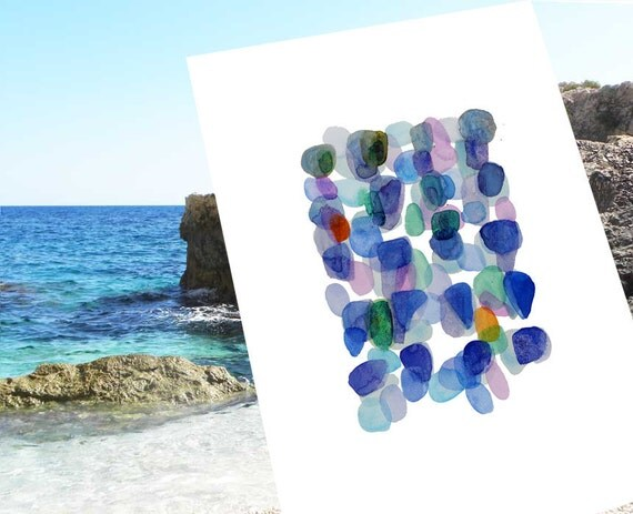 Watercolor painting Sea Glass original painting  Beach Finds ultramarine blue emerald green modern Art