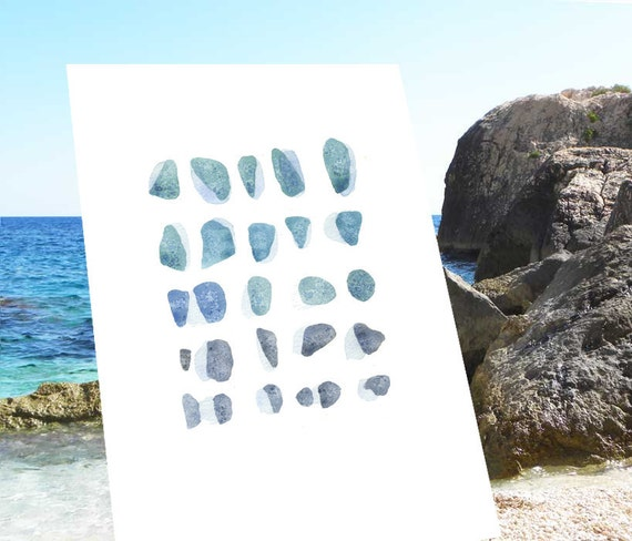Blue Sea glass Watercolor painting summer vacation Sardegna, Italy original painting