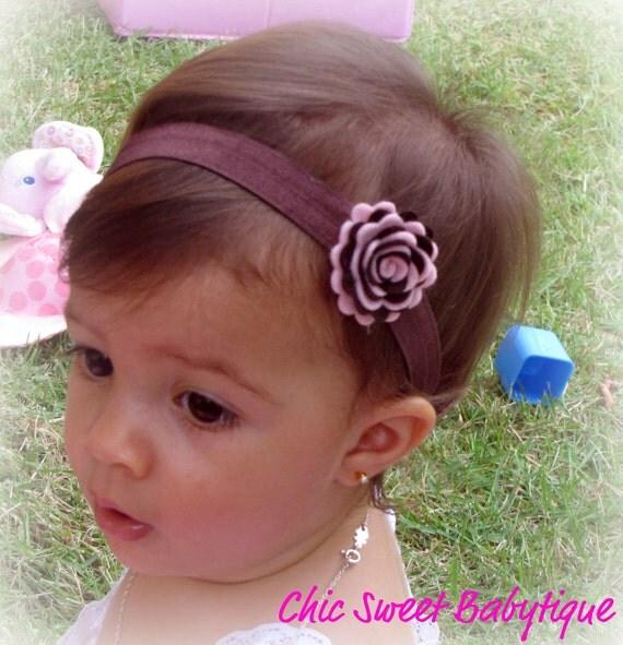 Brown and pink felt flower headband - Baby Infant Newborn Toddler Girls Teen Women
