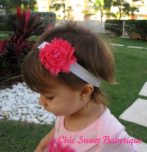 Shabby chic fushia chiffon flower headbands valentine colors - baby headband, flower headband, spring clearance