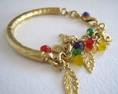 Colorful Agate, Elephant, and Leaf Hammered Gold Bracelet - Lucky Charms