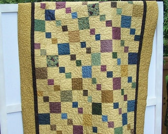 Jewel Toned Squares on Caramel Background Lap Quilt