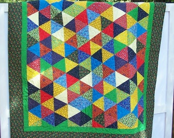 Lap Quilt Triangles, Triangles of Scrappy Cotton Fabrics