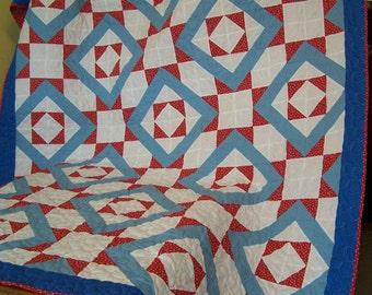 Machine Quilted Vintage Stars and Diamond