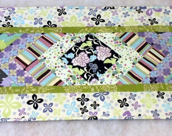 Contemporary Chevron Table Runner in Lime and Purples
