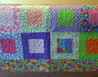 Lap Quilt Machine Quilted Happy Bordered