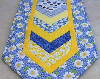 Cotton Table Runner Chevron Blue Skies and Sunshine