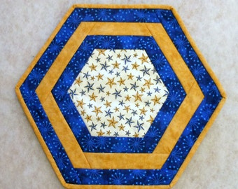 Blue and Gold Patriotric Hexagon Table Topper
