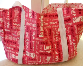 Tote Bag Pink Ribbon Fight for The Cure Theme