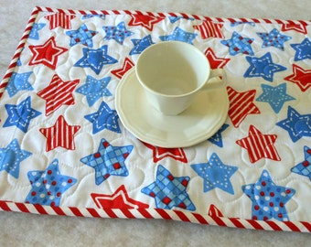 Reversible Place Mats Red White and Blue Celebrate USA