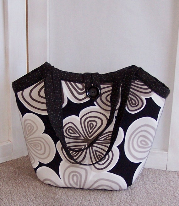 Reversible Handcrafted Fabric Bucket Bag Bold Geometric and Floral in Black, Tan, Brown and Gray