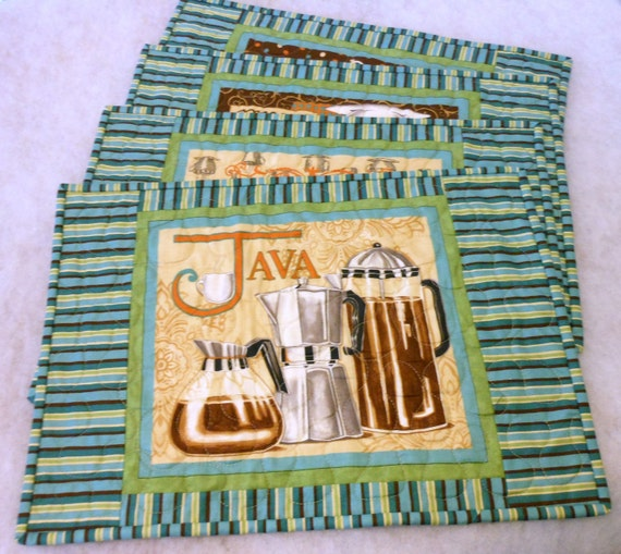 Reversible Place Mats Aqua, Green and Brown Gourmet Coffee Themed