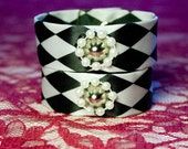 CLEARANCE Harlequin Cuffs with Pearl Snaps