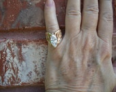 Ring,14K Solid Gold, Wide Band, 3 ctw CZ Stone, Sale, Nanas Vintage Shop on Etsy