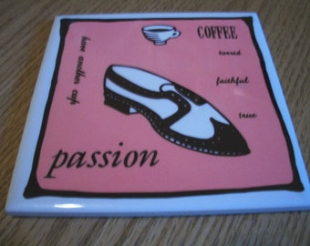 Tile Starbucks Coffee Coaster, Coffee Passion, Wing Tip Shoe, by Nanas Vintage Shop on Etsy