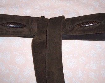 Dark Brown Suede Belt with Snake Trim, Vintage 1978, by Nanas Vintage Shop on Etsy