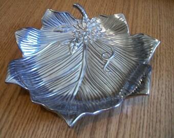 25% Off, Fitz & Floyd, Silver Leaf Snack Bowl, by Nanas Vintage Shop